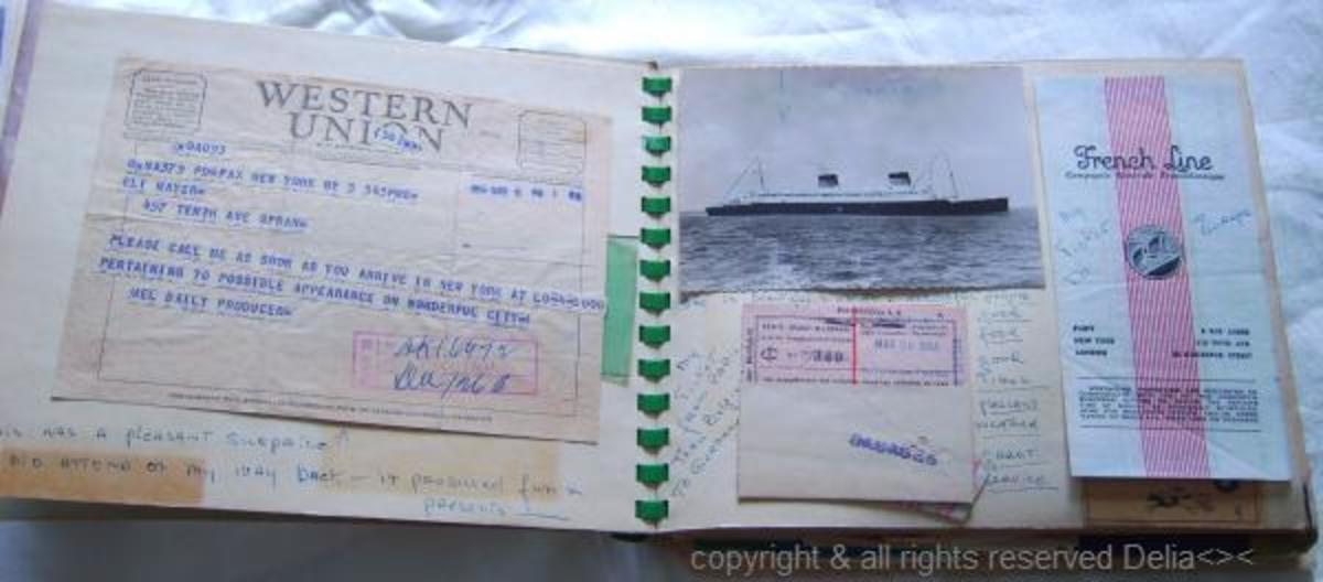 train tickets, Hotel receipts, napkins and many photos