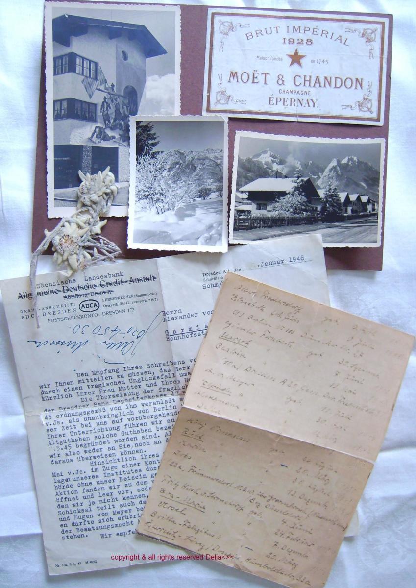 Handwritten list of Birthdays, several of dad's photos from Garmisch