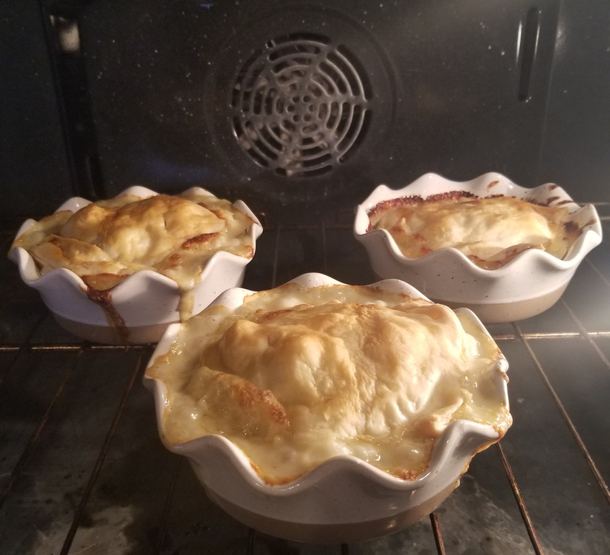 I took the foil from underneath the pot pies for the picture, but remember to cook them on top of foil, so the sauce does not bubble over on your oven. These are a favorite in our family.