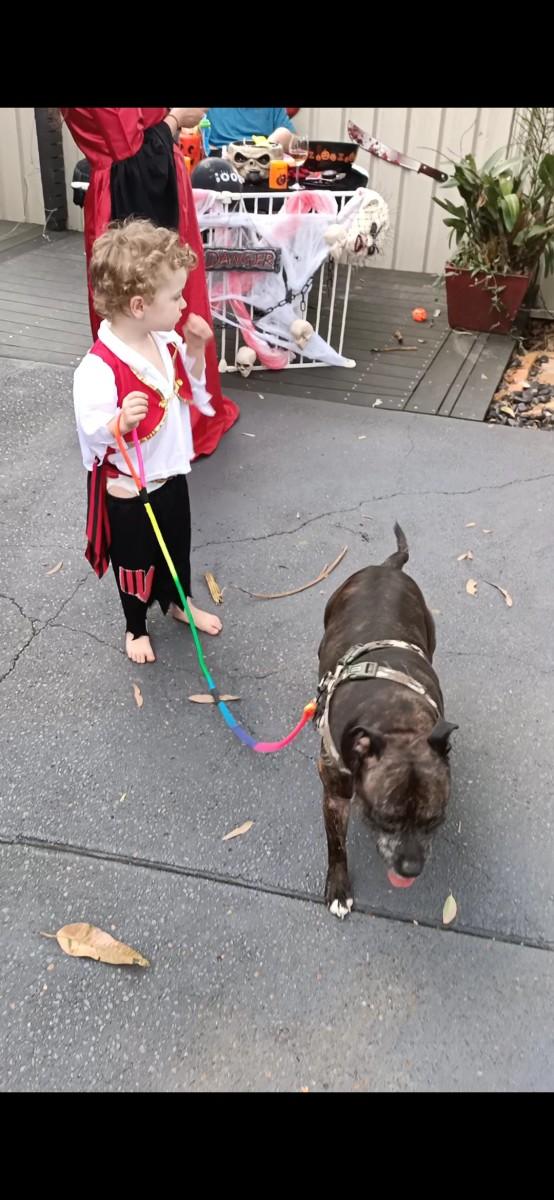 Knox entertaining the children on Halloween