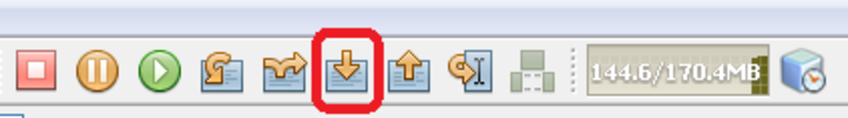 Showing Step Into icon on the toolbar