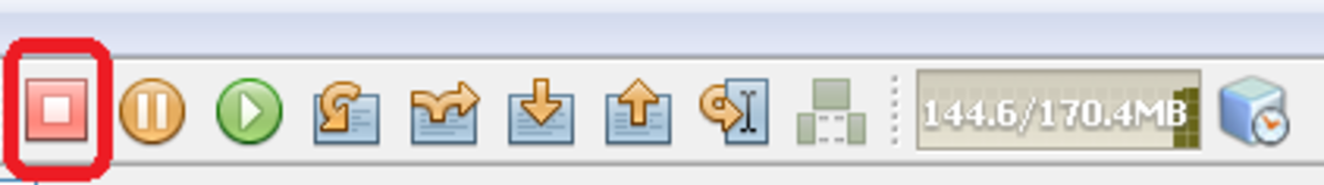 Showing Stop icon on the toolbar
