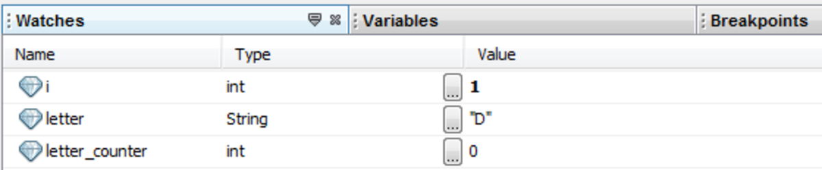 "The value of variable letter now has string ""D"""