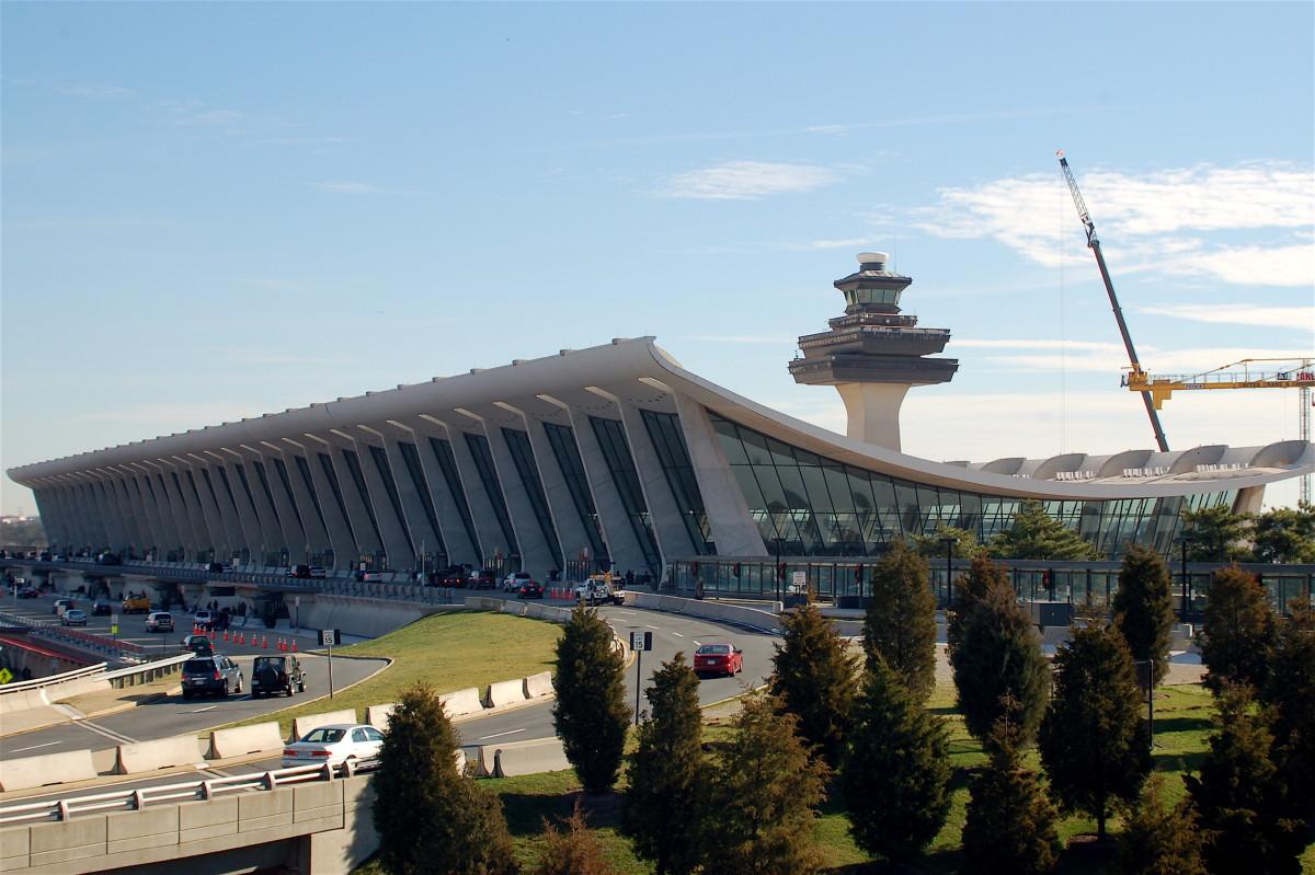 Main terminal of Washington Dulles International Airport (IAD/KIAD), in Fairfax and Loudoun counties in Virginia