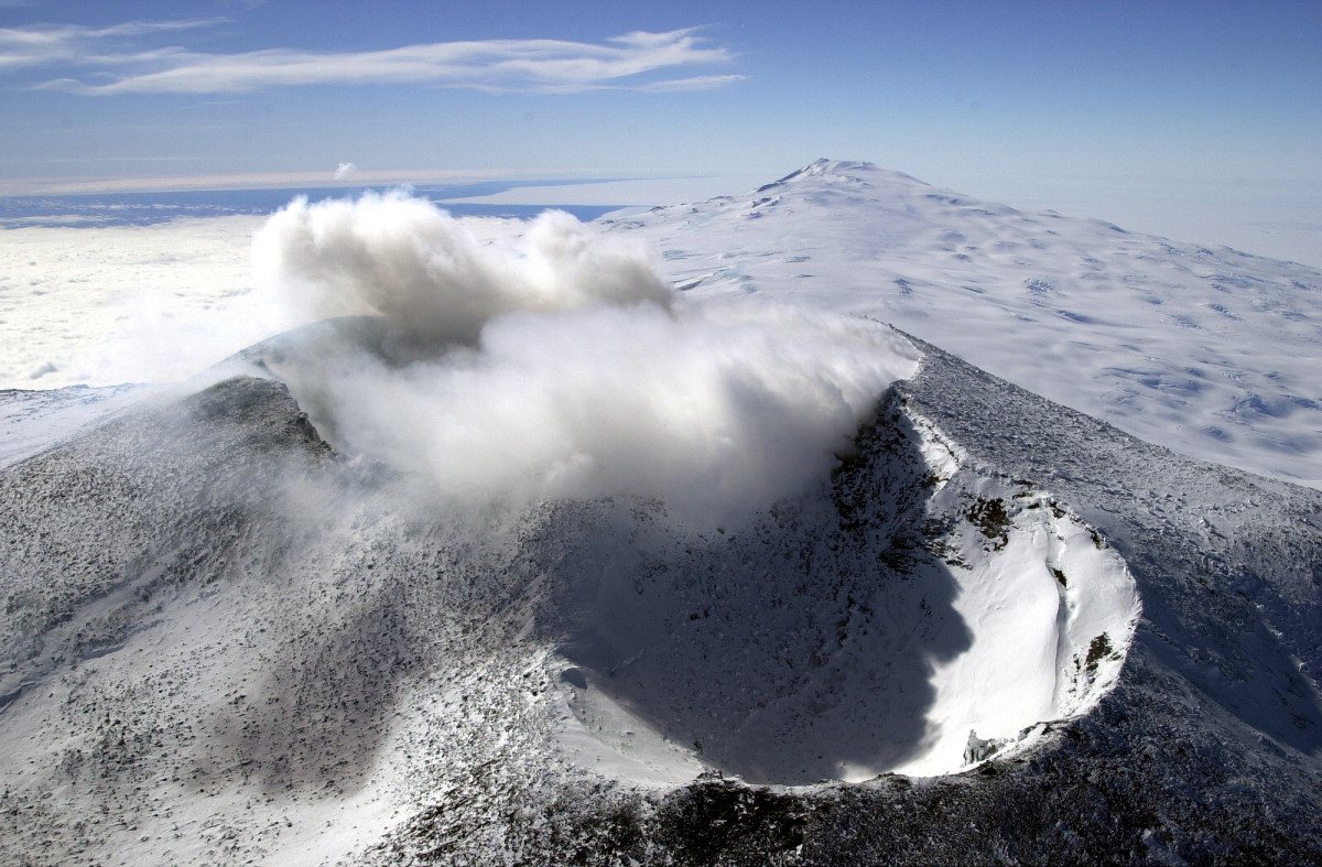 Mount Erebus is an active volcano in Antarctica