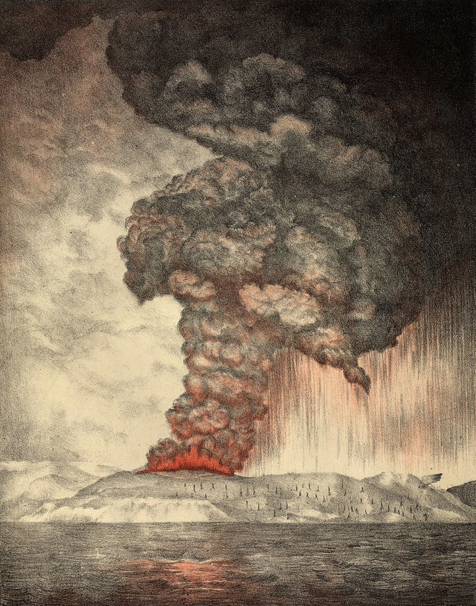 A nineteenth century illustrator depicts the massive 1883 eruption of Krakatoa just off the Indonesian island of Sumatra.