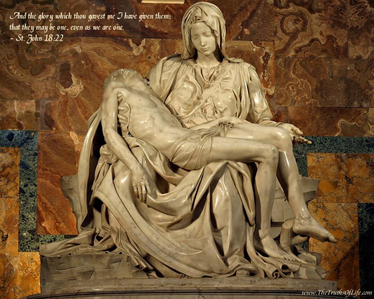 """MICHELANGELO SCULPTURE """"PIETA"""" 1499"""
