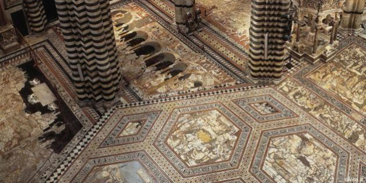 An example of the beautiful mosaic floor in the Siena Duomo