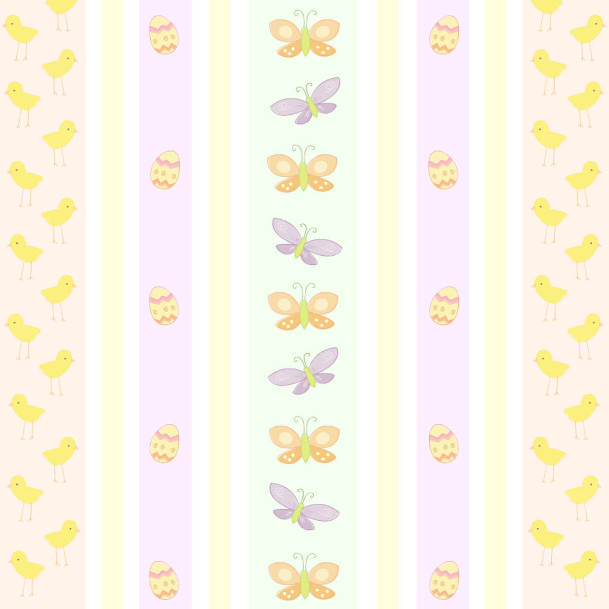 Premade scrapbook pages: Pastel butterflies, baby chicks and Easter eggs in a striped pattern
