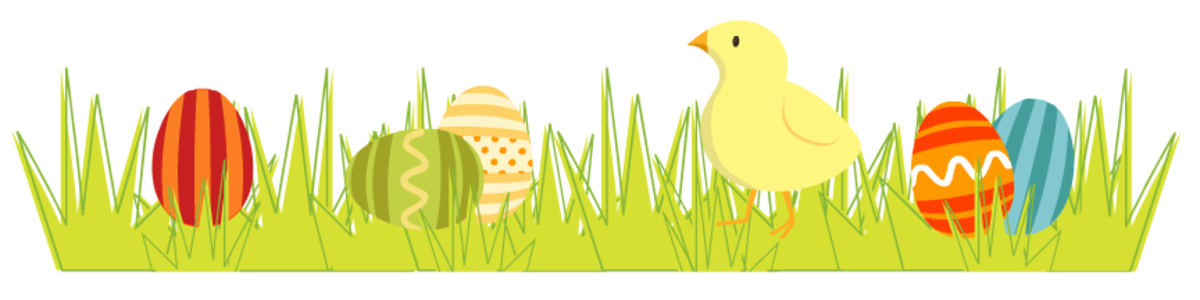 Easter scrapbook border: Colorful Easter eggs and a baby chick in the spring grass