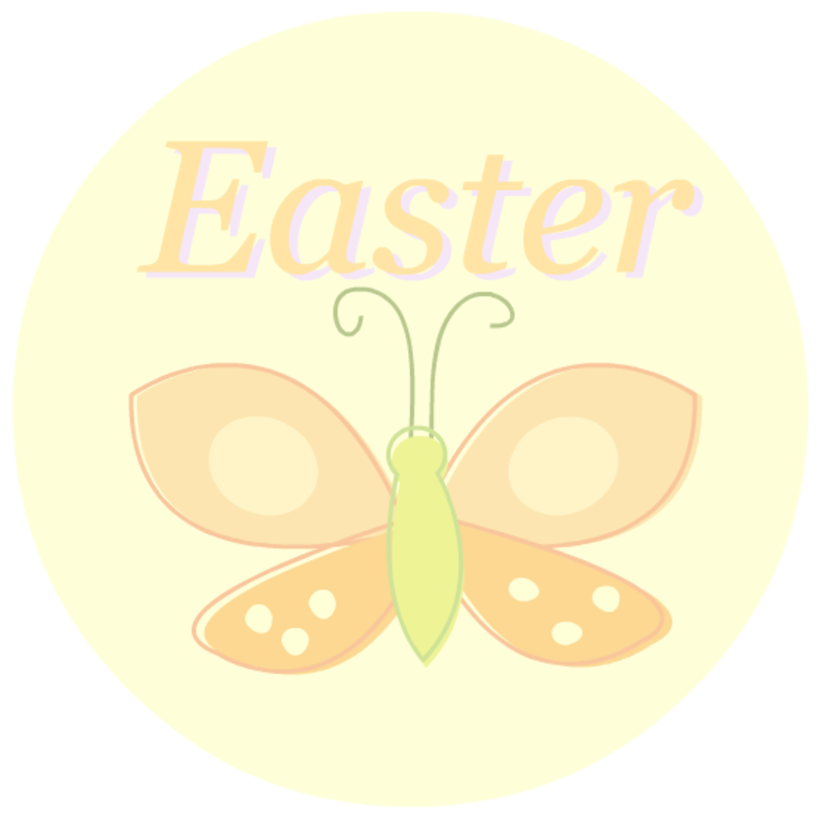 "Scrapbook embellishments: pastel orange butterfly ""Easter"" sticker"
