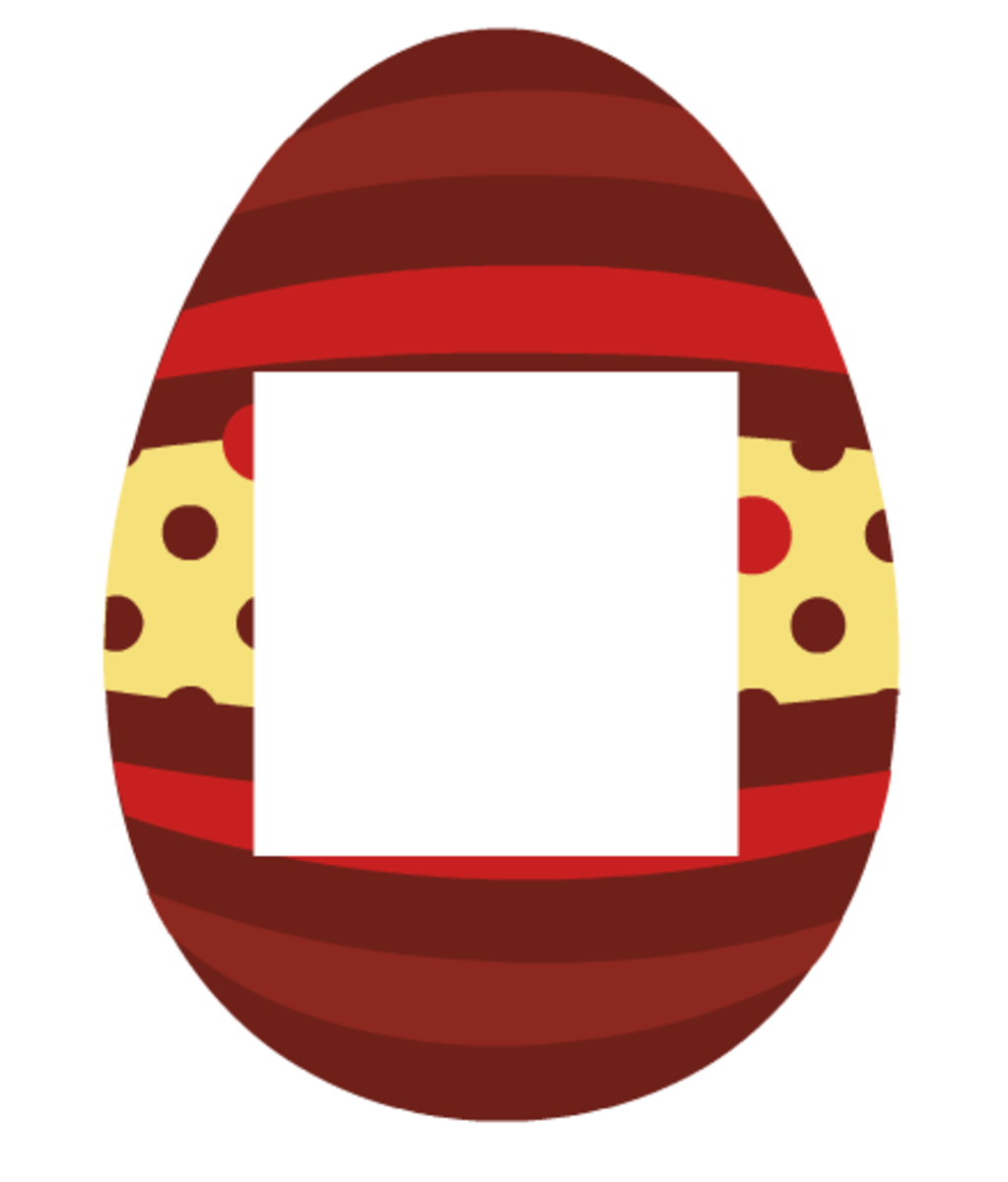 Easter scrapbook embellishments: Rust and red striped with rust dots Easter egg photo frame