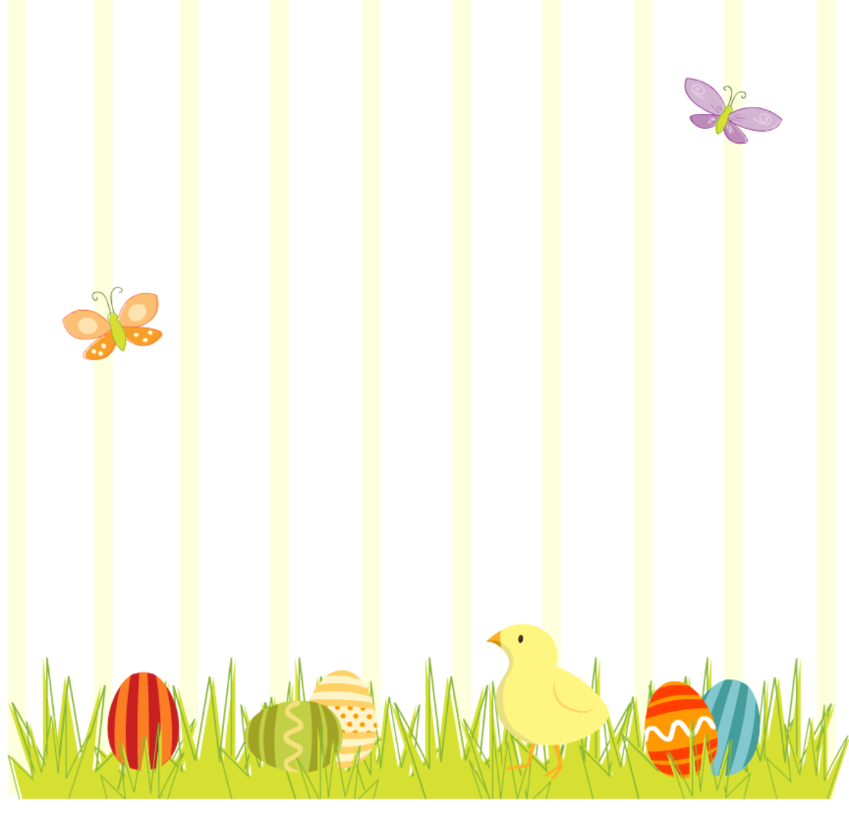 Easter scrapbook layout: Baby chick with Easter eggs in the grass