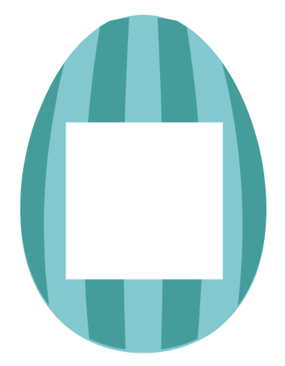 Easter scrapbook embellishments: Aqua and teal vertical striped Easter egg photo frame