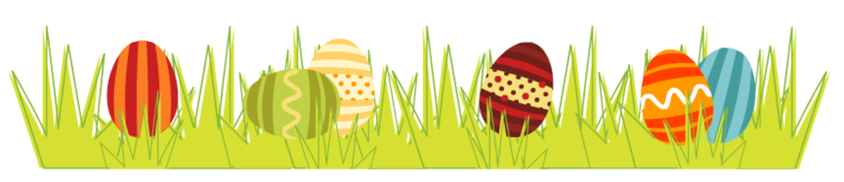Easter scrapbook border: Colorful Easter eggs in the spring grass