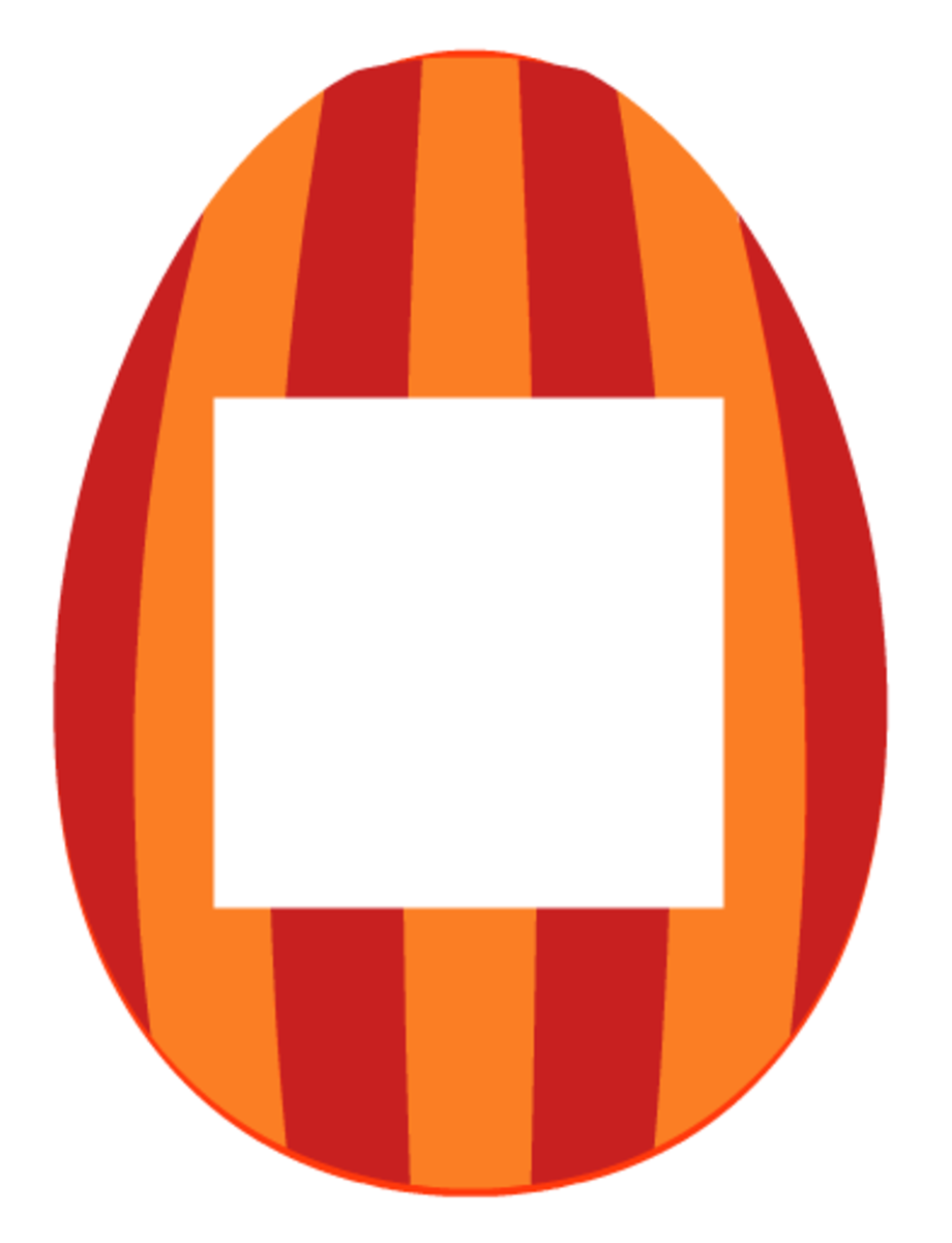 Easter scrapbook embellishments: Red and orange vertical striped Easter egg photo frame
