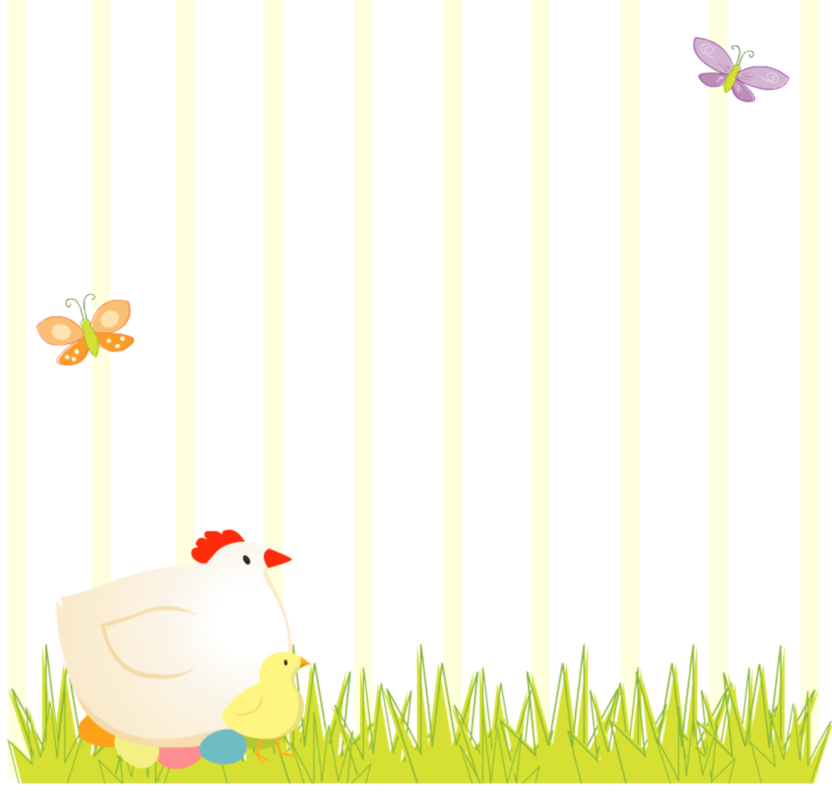 Easter scrapbook layout: Mother chicken and baby chick in the grass