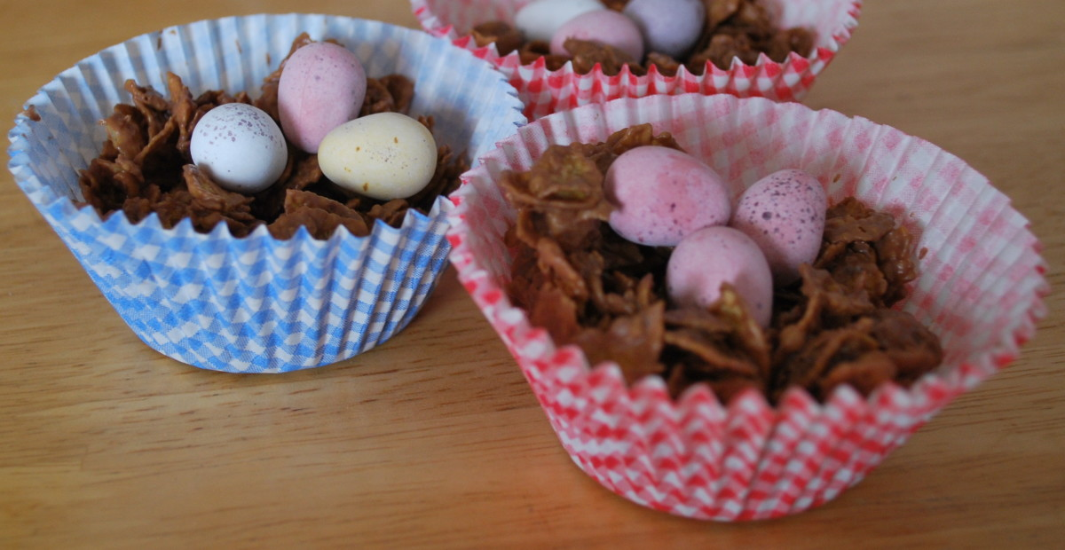 Chocolate crispy cakes with little candy eggs.