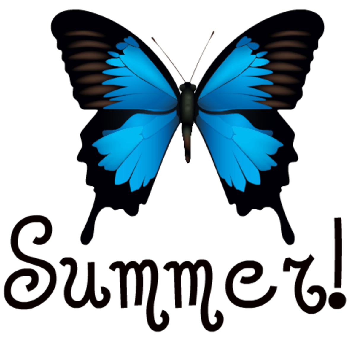 Free blue butterfly summer clipart