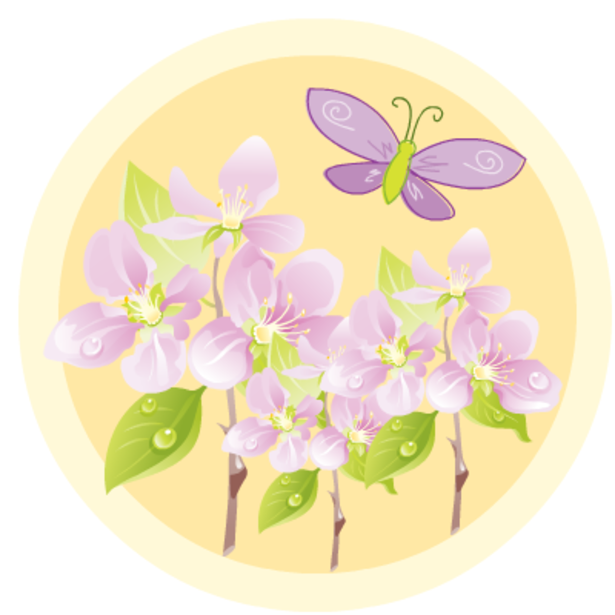 Free purple flowers and butterfly