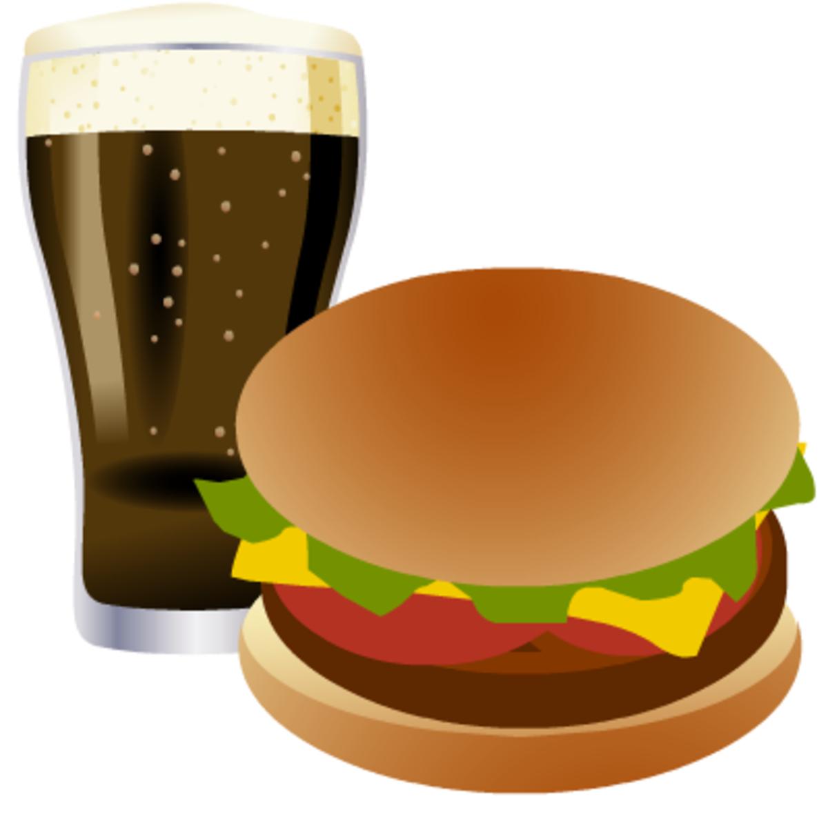 hamburger and soft drink
