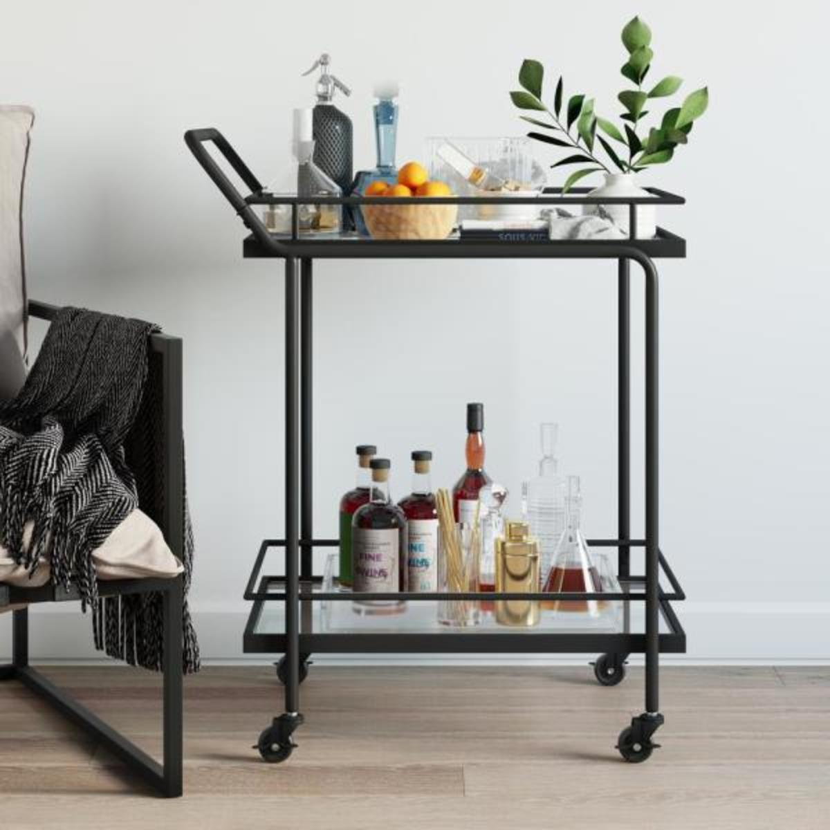 2-Tiered black metal frame glass rolling bar cart and tea or cocktail cart.
