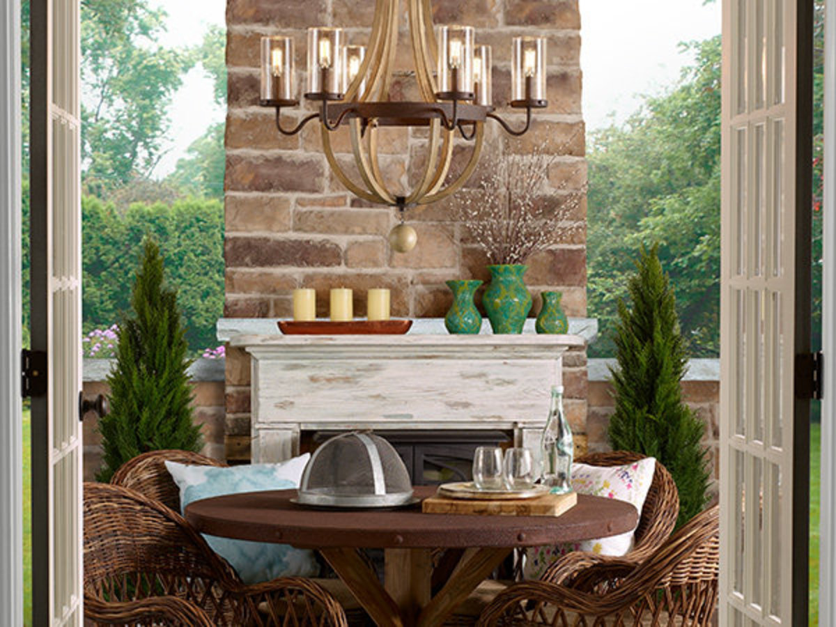 The outdoor chandelier looks for a patio or the gazebo.
