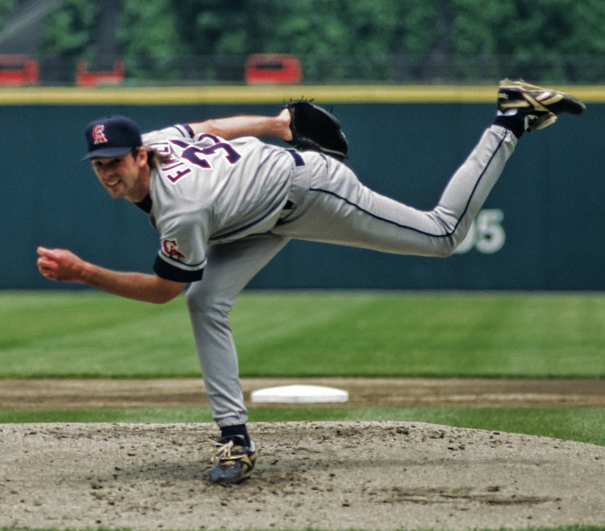 Chuck Finley never threw a no-hitter for the Angels, but did fire a one-hitter against Boston in 1989. He is seen above pitching in 1996.
