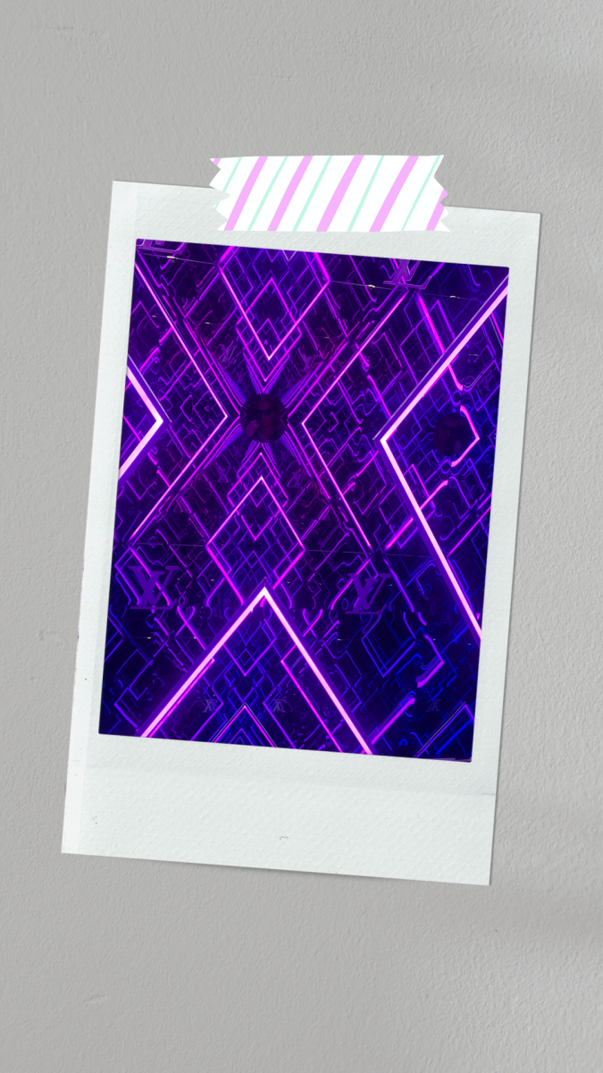This neon purple polaroid looks amazing with the cool geometric patterns!