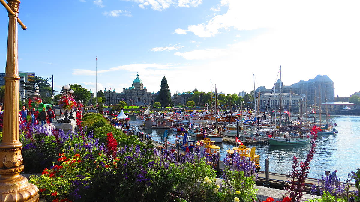 The British Columbia Parliament Buildings along the Inner Harbor Causeway in Beautiful Downtown Victoria BC