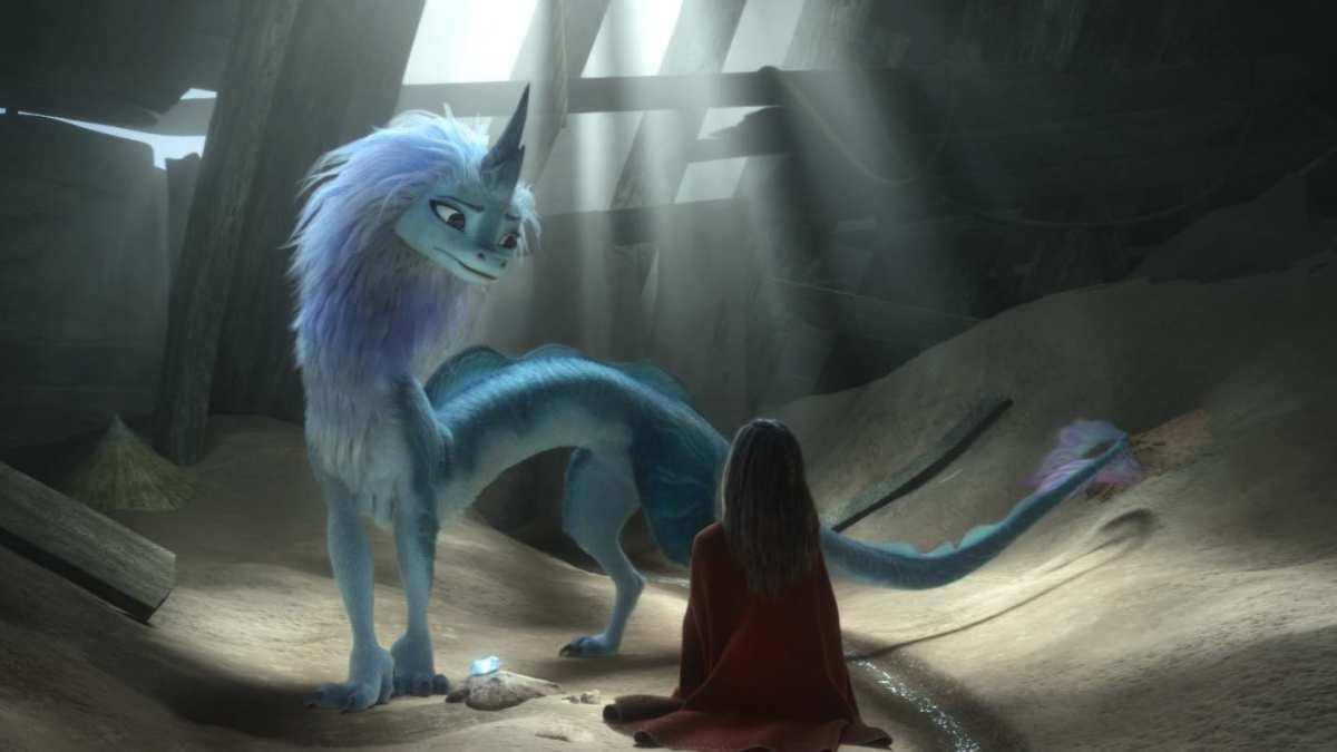 Raya (Kelly Marie Tran) meeting the dragon Sisu (Awkwafina)