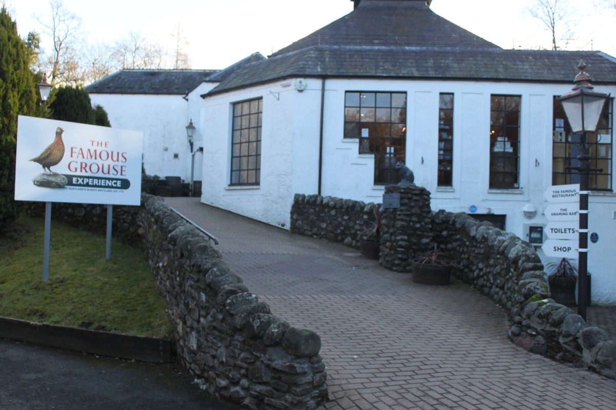 The entrance to the Glenturret Distillery visitor centre and shop.