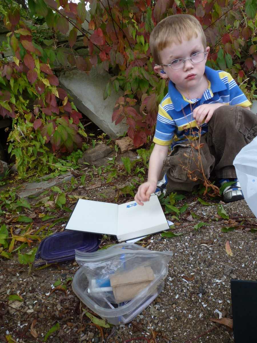 A four year old with a letterbox and a sketchbook to record the hand-carved stamp inside the box. The box was carefully re-hidden once we had logged in and obtained our stamp!