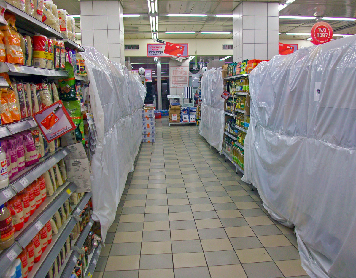 Leavened foods concealed behind plastic at Jerusalem supermarket during Passover