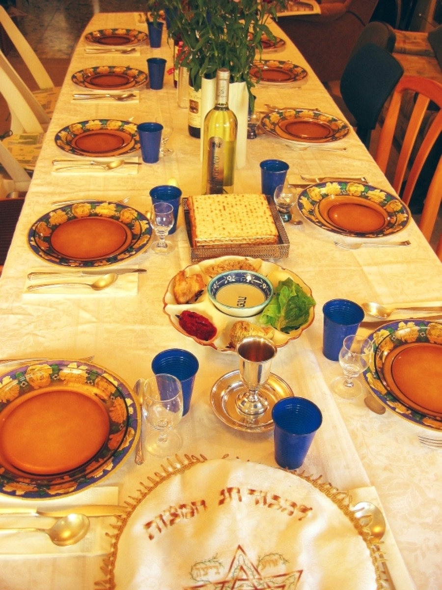 Table Laid For Passover Seder With Wine, Matza & Seder Plate