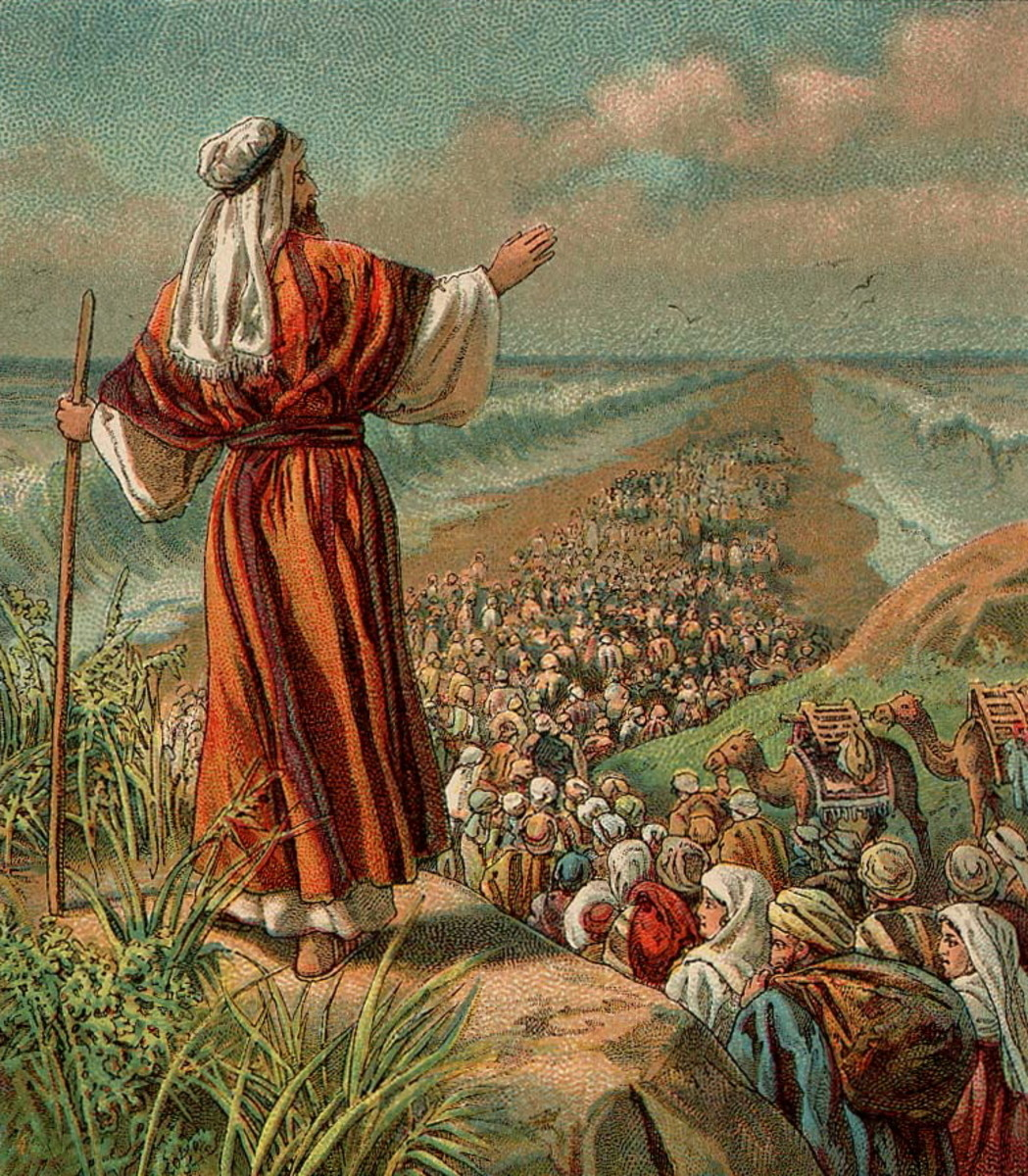 The Exodus Of The Jewish Slaves From Egypt. The Red Sea Miraculously Parted To Allow Their Safe Passage While Drowning The Egyptian Soldiers Pursuing Them