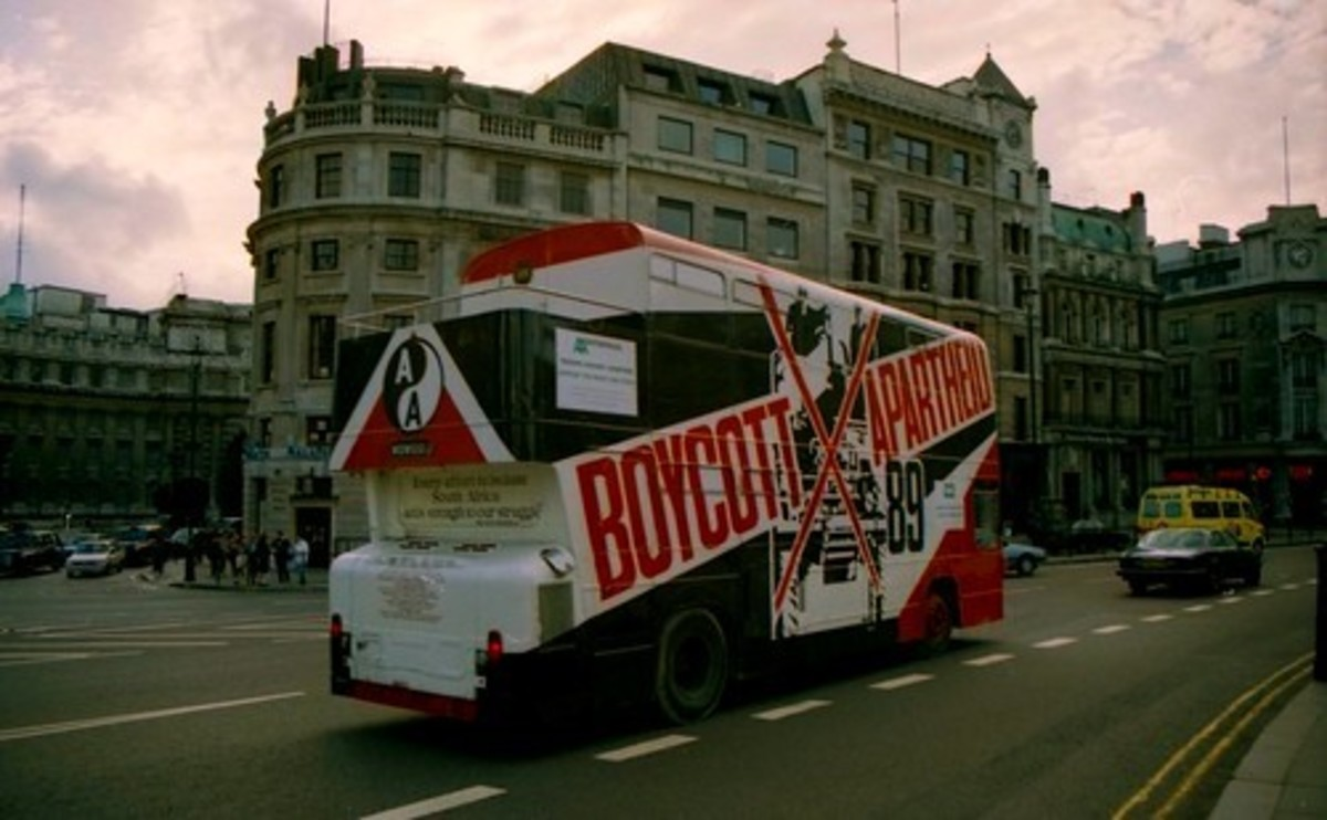 The campaign to boycott South African goods was worldwide, such as here in London, England.
