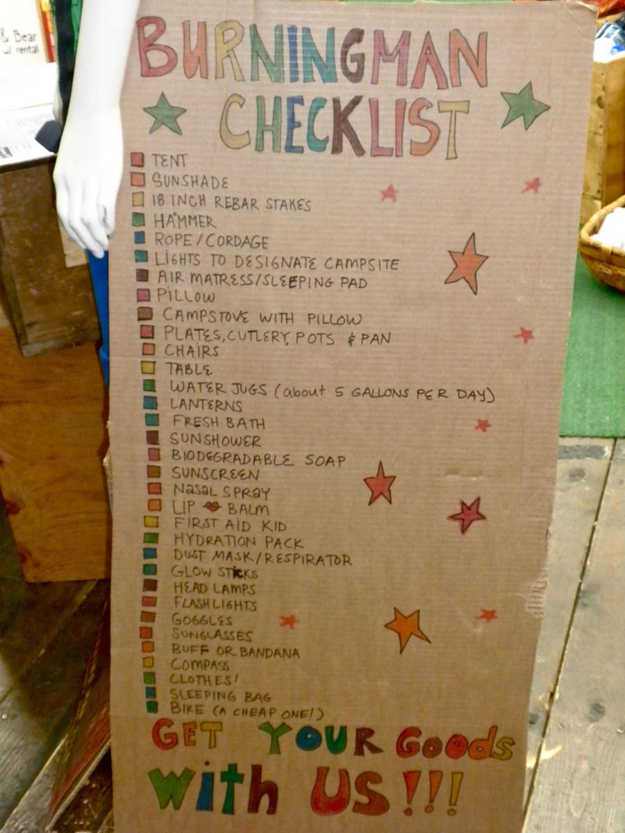 A Burning Man camp checklist.