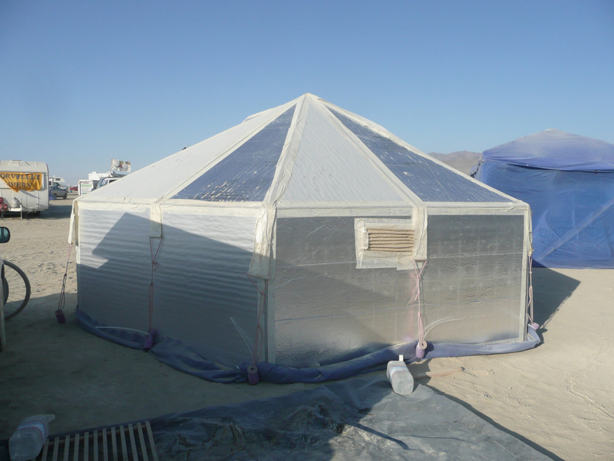 Instead of tents or vehicles, some people build hexayurts for the playa. There are plans available online.