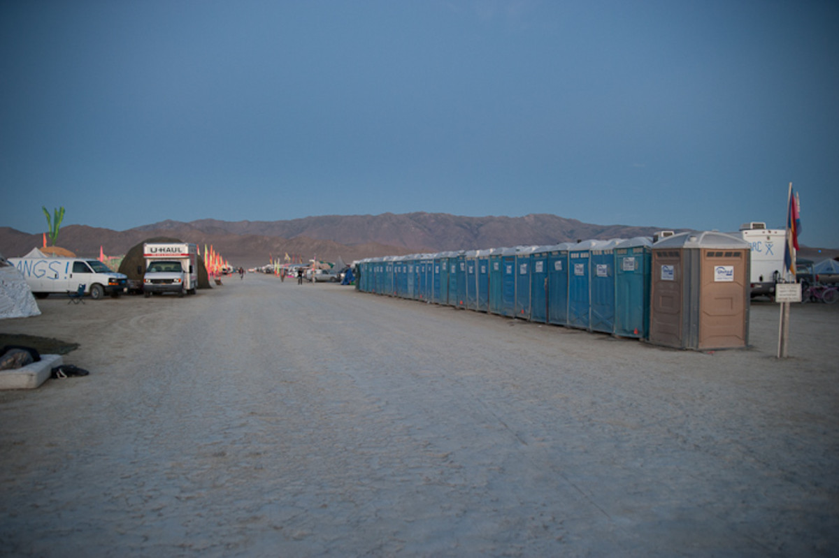 Rows of porta-potties are scattered across the city.