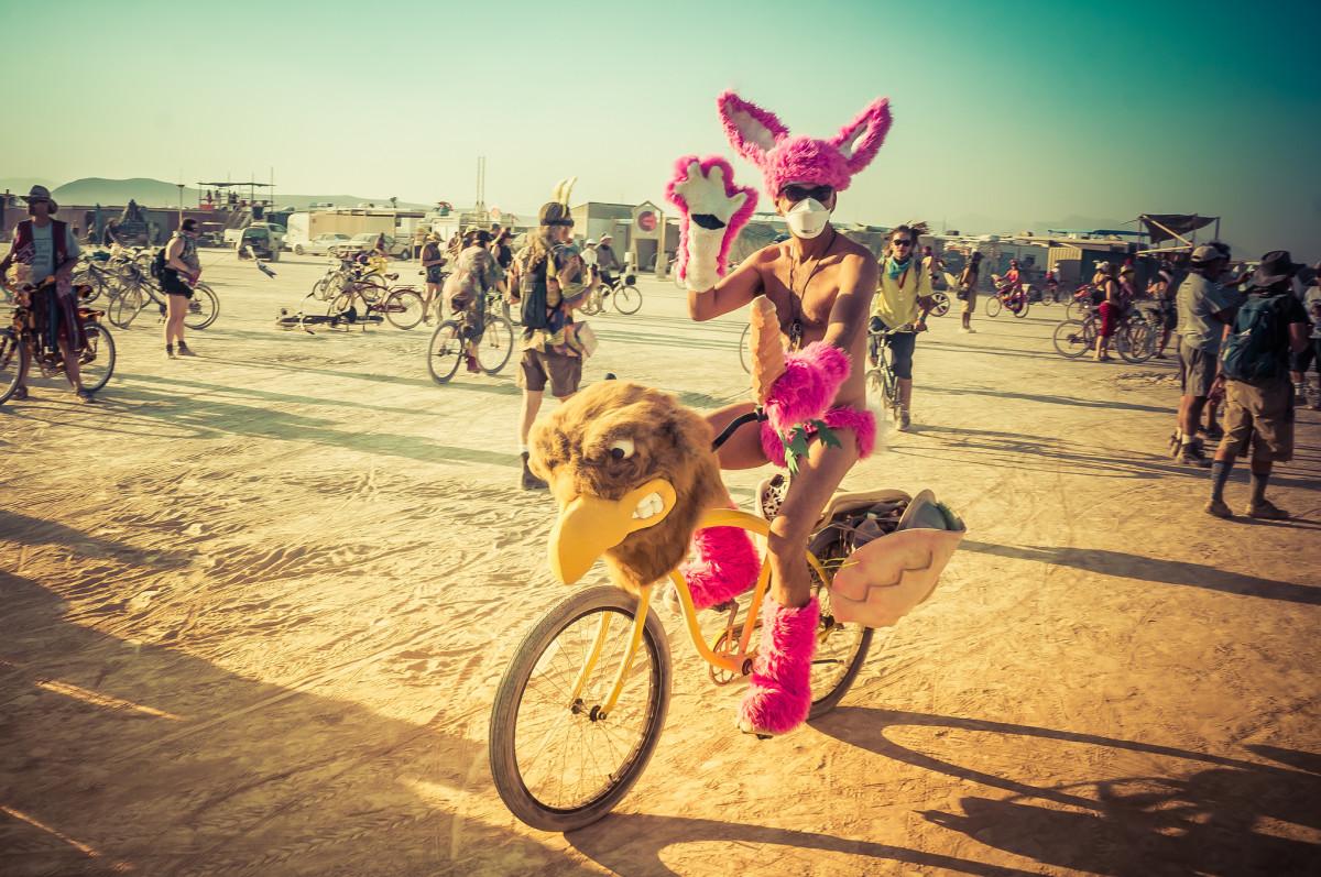 Fun costume and bike.
