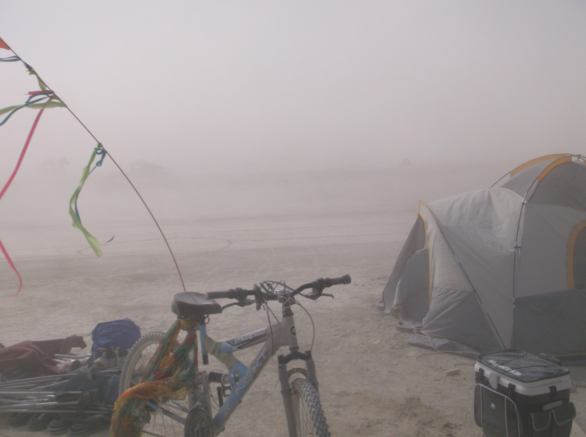 Hunker down and ride out dust storms. Don't travel in them.