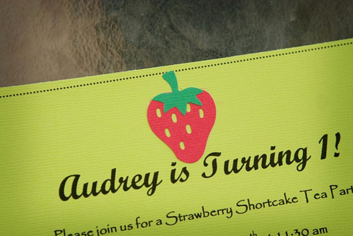 Strawberry Shortcake Handmade Birthday Invitation