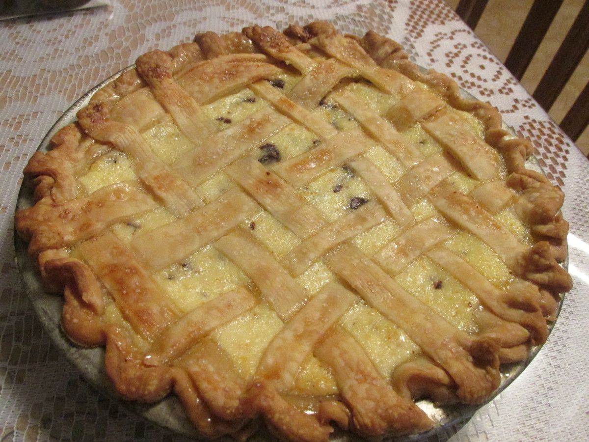 With lattice top crust.