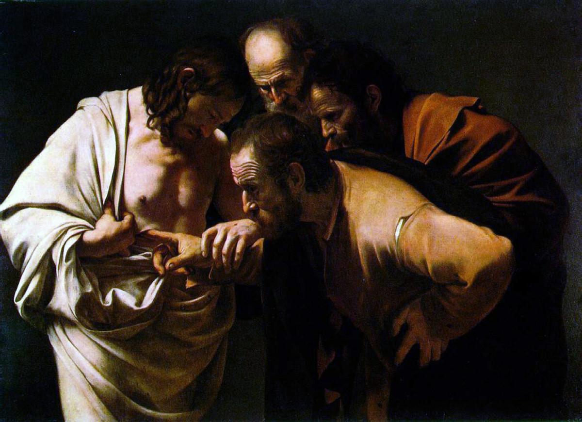 """DOUBTING THOMAS"" BY CARAVAGGIO 1603"