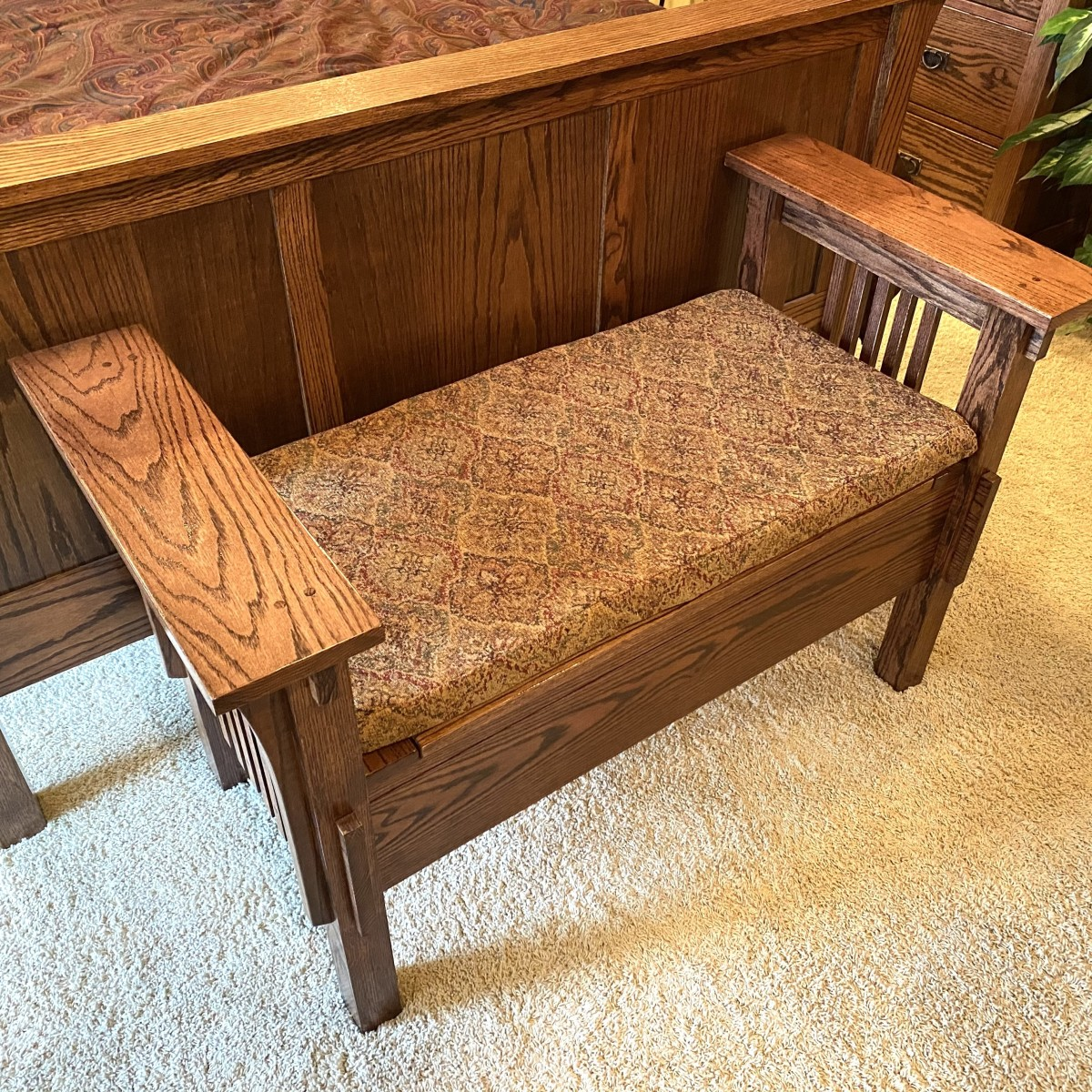 Wood bench with new cushion