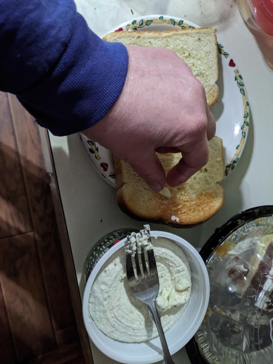 Butter balls rubbed across hot toast