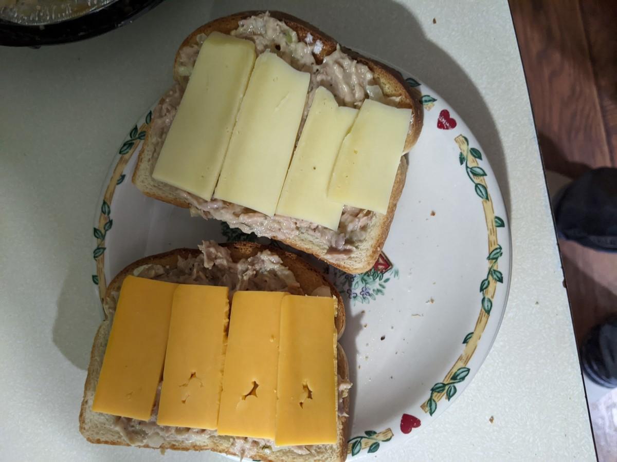 Cheese across top of tuna - here we used Jarlberg or sharp cheddar
