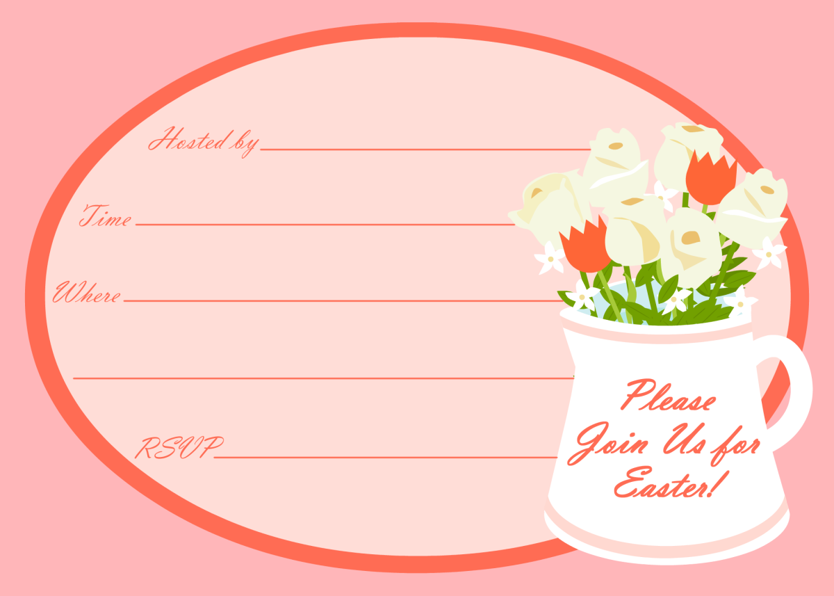 Easter party invitation: Vase with flowers
