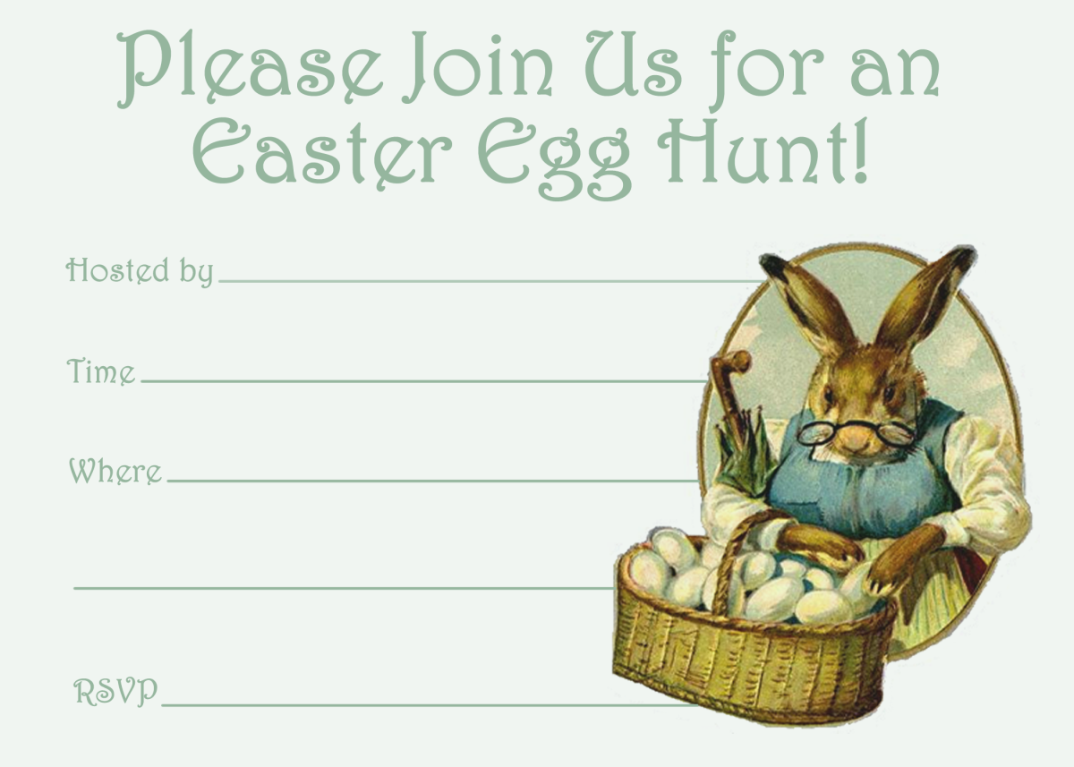 Free Easter egg hunt invitation: Mama rabbit with basket of Easter eggs.